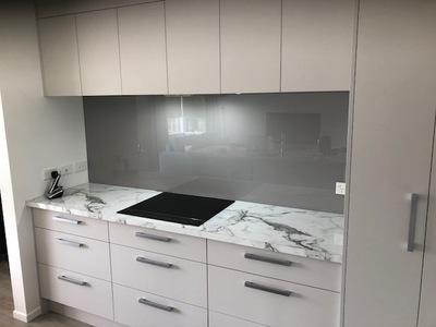 Painted Grey Kitchen Splashback